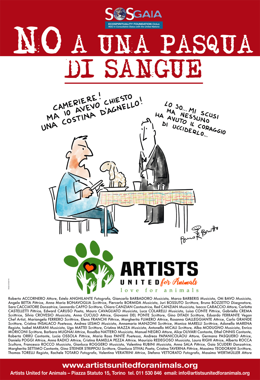 ARTISTS UNITED FOR ANIMALS - NO A UNA PASQUA DI SANGUE